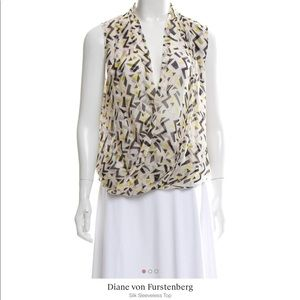 DVF Issie Silk Yellow White New Wave Blouse 12 14